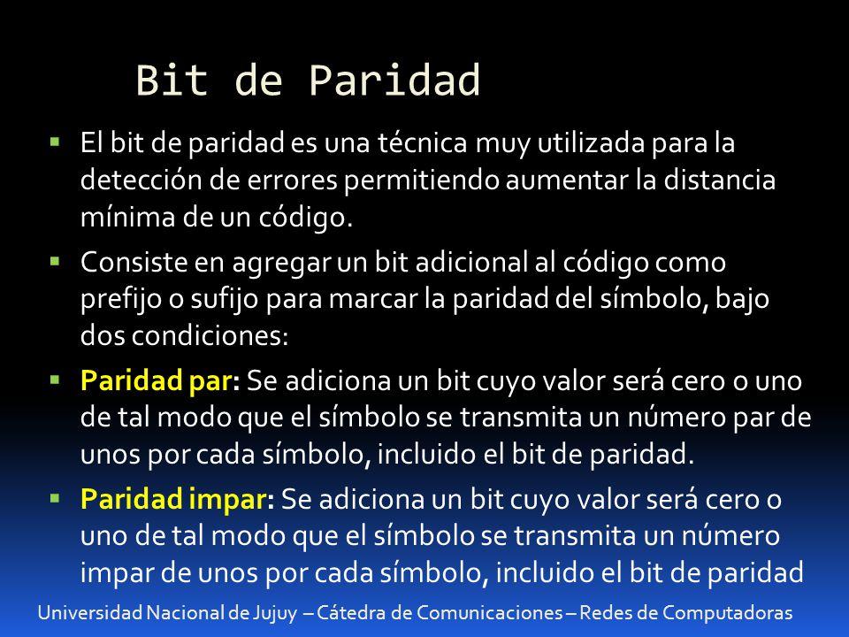 Bit de Paridad El bit de paridad es una técnica muy utilizada para la detección de errores permitiendo aumentar la distancia mínima de un código.