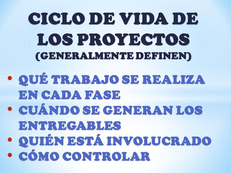 CICLO DE VIDA DE LOS PROYECTOS (GENERALMENTE DEFINEN)