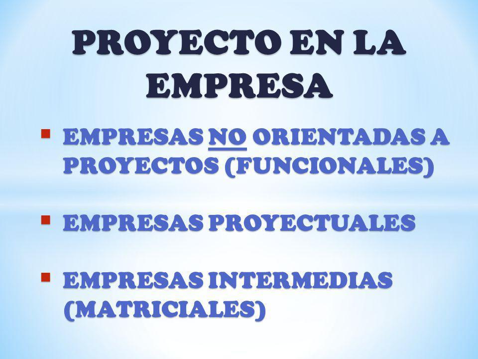 PROYECTO EN LA EMPRESA EMPRESAS NO ORIENTADAS A PROYECTOS (FUNCIONALES) EMPRESAS PROYECTUALES.