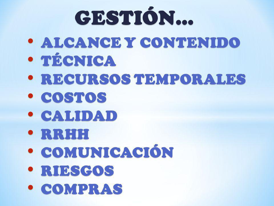 GESTIÓN… ALCANCE Y CONTENIDO TÉCNICA RECURSOS TEMPORALES COSTOS
