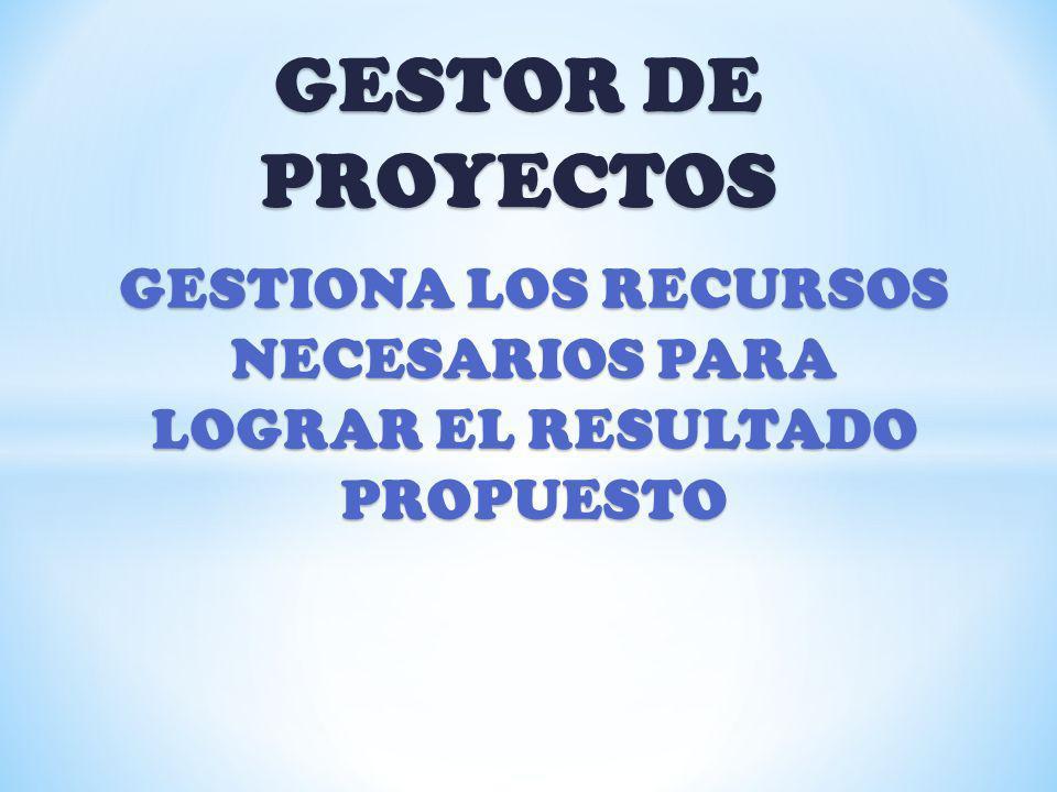 GESTIONA LOS RECURSOS NECESARIOS PARA LOGRAR EL RESULTADO PROPUESTO
