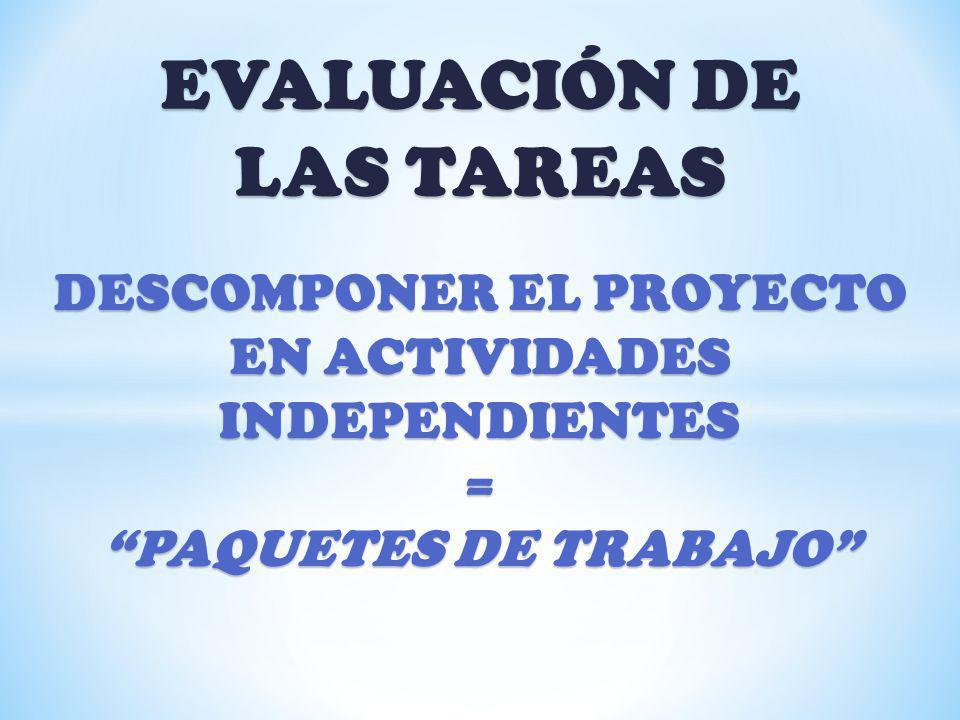 EVALUACIÓN DE LAS TAREAS