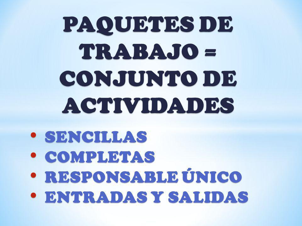 PAQUETES DE TRABAJO = CONJUNTO DE ACTIVIDADES