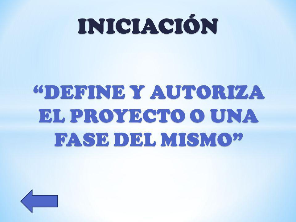 DEFINE Y AUTORIZA EL PROYECTO O UNA FASE DEL MISMO