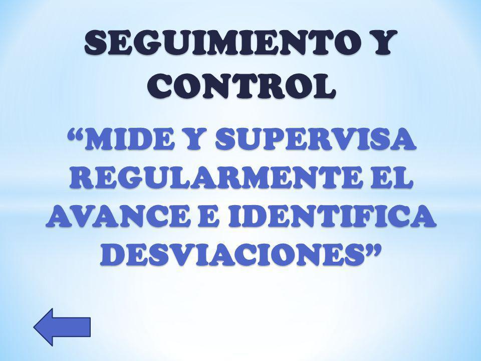 MIDE Y SUPERVISA REGULARMENTE EL AVANCE E IDENTIFICA DESVIACIONES
