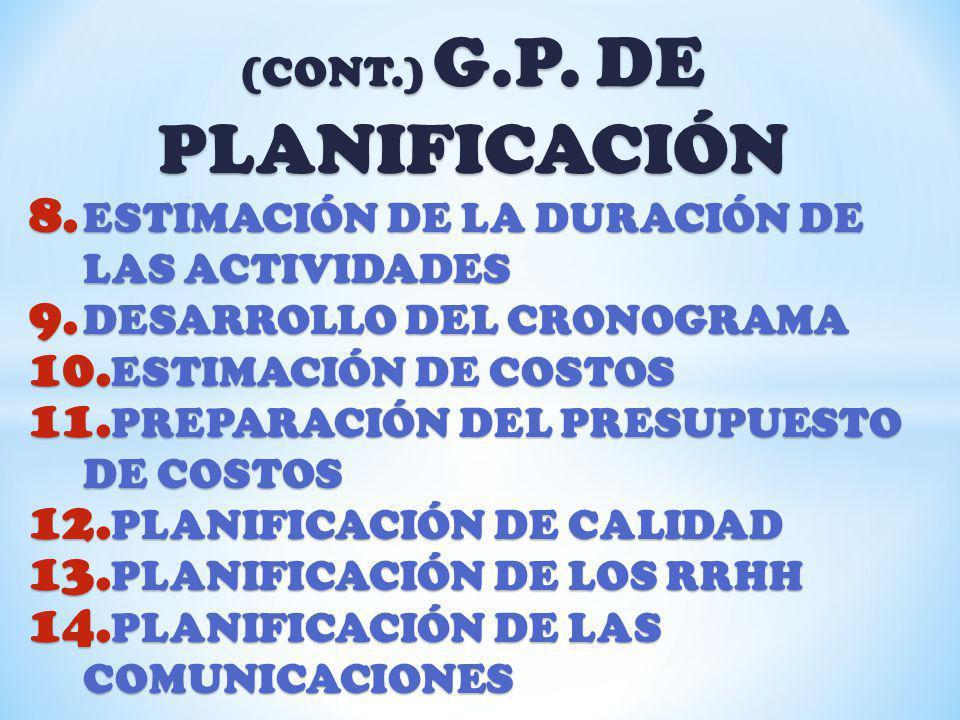 (CONT.) G.P. DE PLANIFICACIÓN