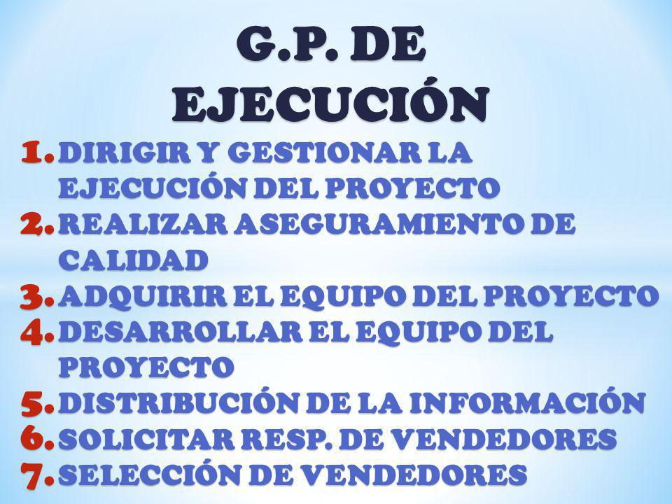 G.P. DE EJECUCIÓN DIRIGIR Y GESTIONAR LA EJECUCIÓN DEL PROYECTO