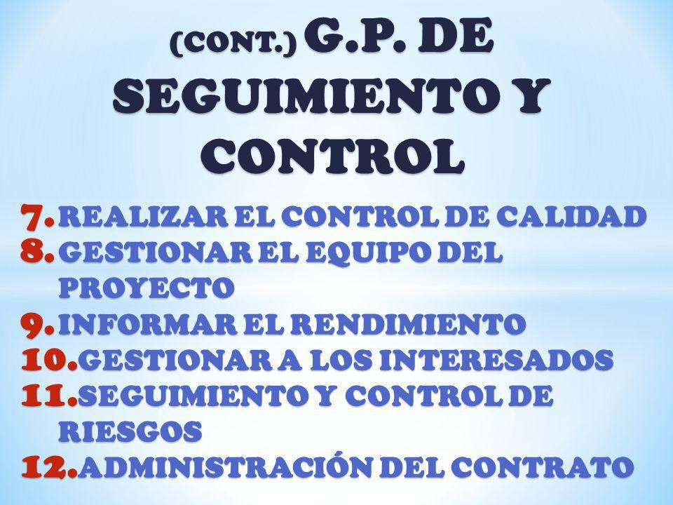 (CONT.) G.P. DE SEGUIMIENTO Y CONTROL