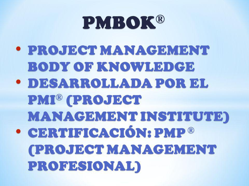 PMBOK® PROJECT MANAGEMENT BODY OF KNOWLEDGE