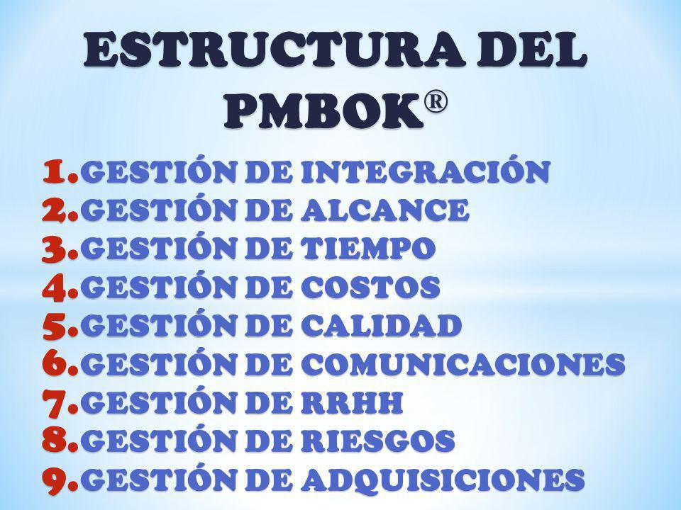 ESTRUCTURA DEL PMBOK® GESTIÓN DE INTEGRACIÓN GESTIÓN DE ALCANCE