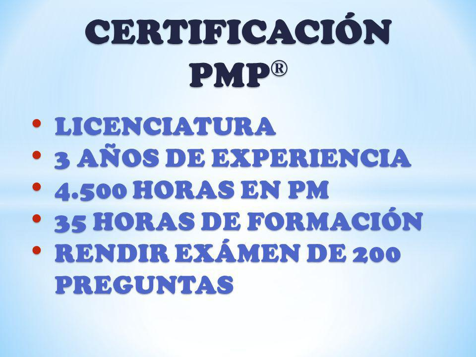 CERTIFICACIÓN PMP® LICENCIATURA 3 AÑOS DE EXPERIENCIA