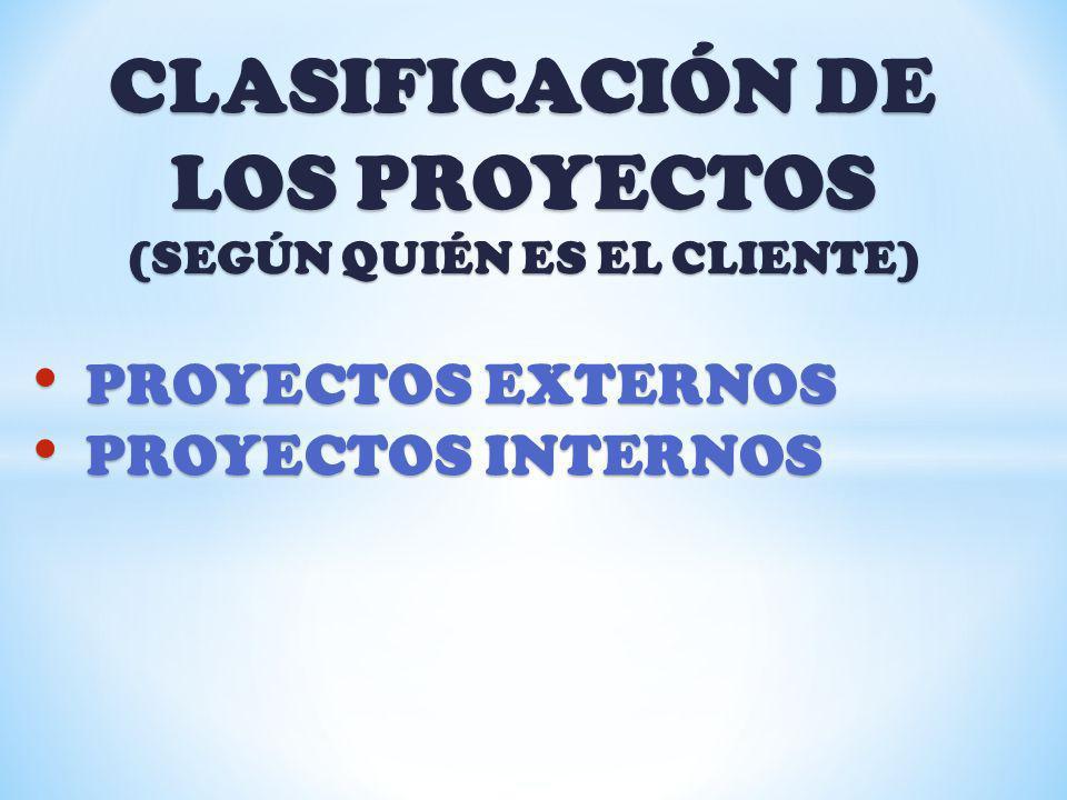 CLASIFICACIÓN DE LOS PROYECTOS (SEGÚN QUIÉN ES EL CLIENTE)
