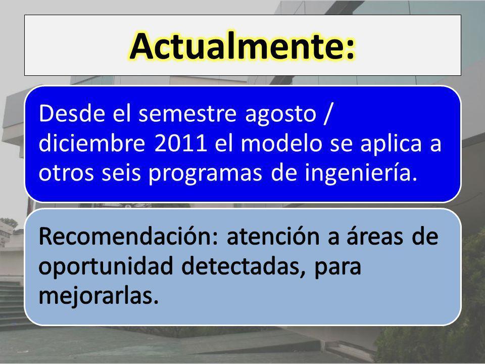 Actualmente: Desde el semestre agosto / diciembre 2011 el modelo se aplica a otros seis programas de ingeniería.