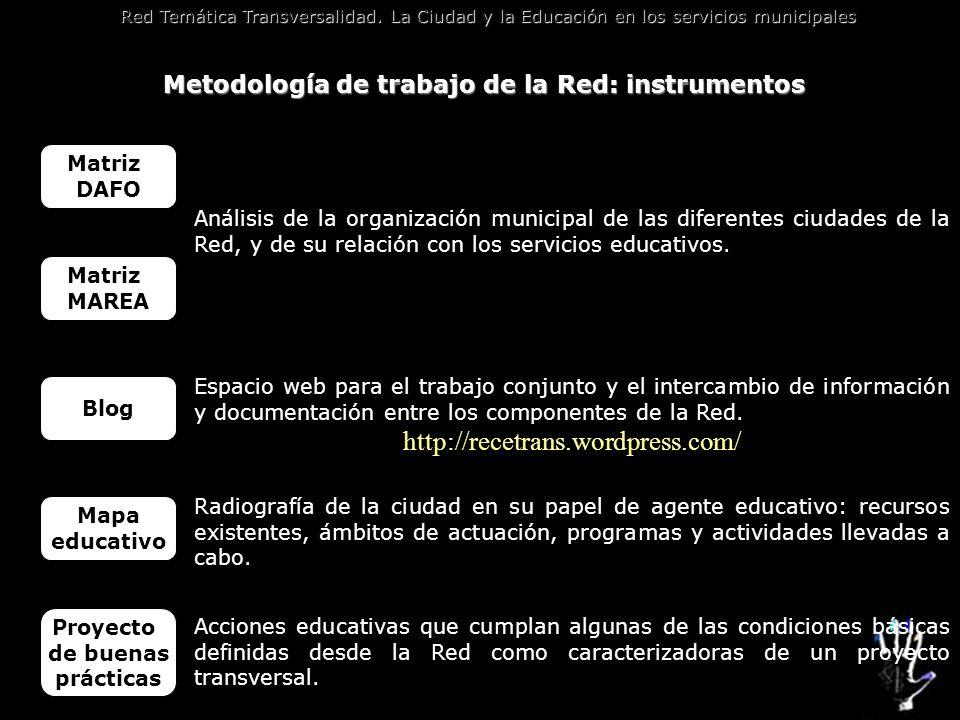 Metodología de trabajo de la Red: instrumentos
