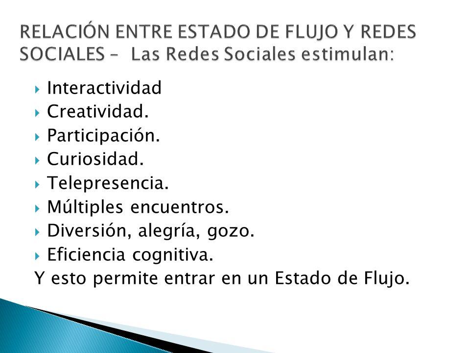 RELACIÓN ENTRE ESTADO DE FLUJO Y REDES SOCIALES – Las Redes Sociales estimulan: