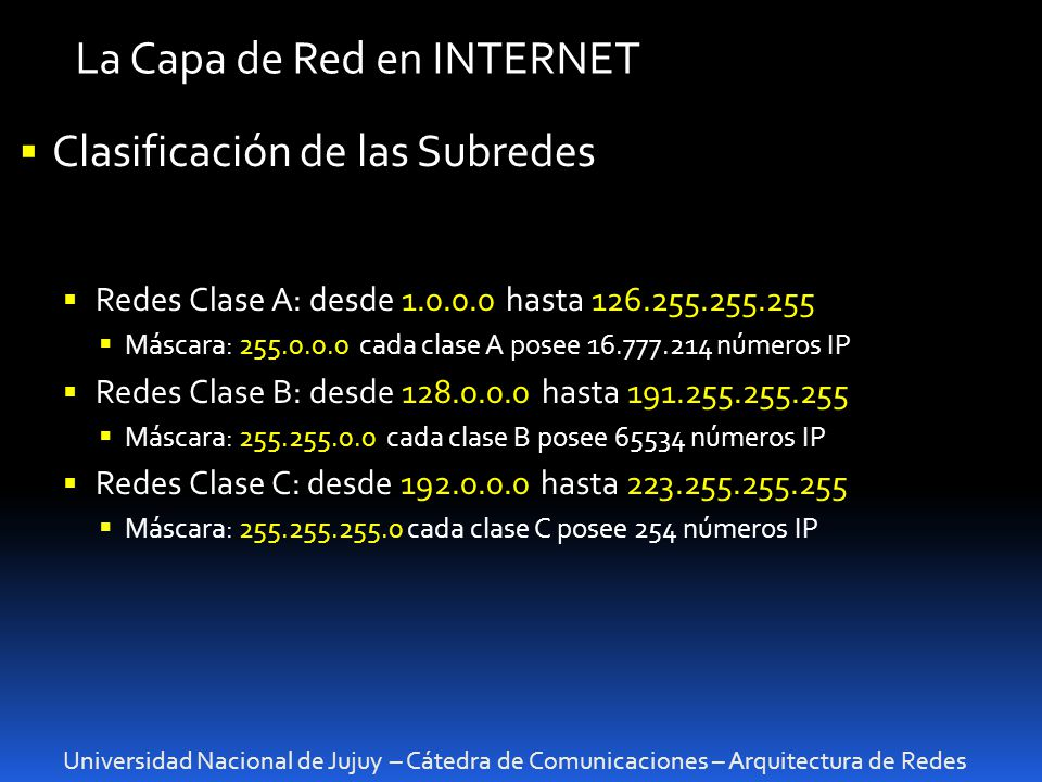 La Capa de Red en INTERNET
