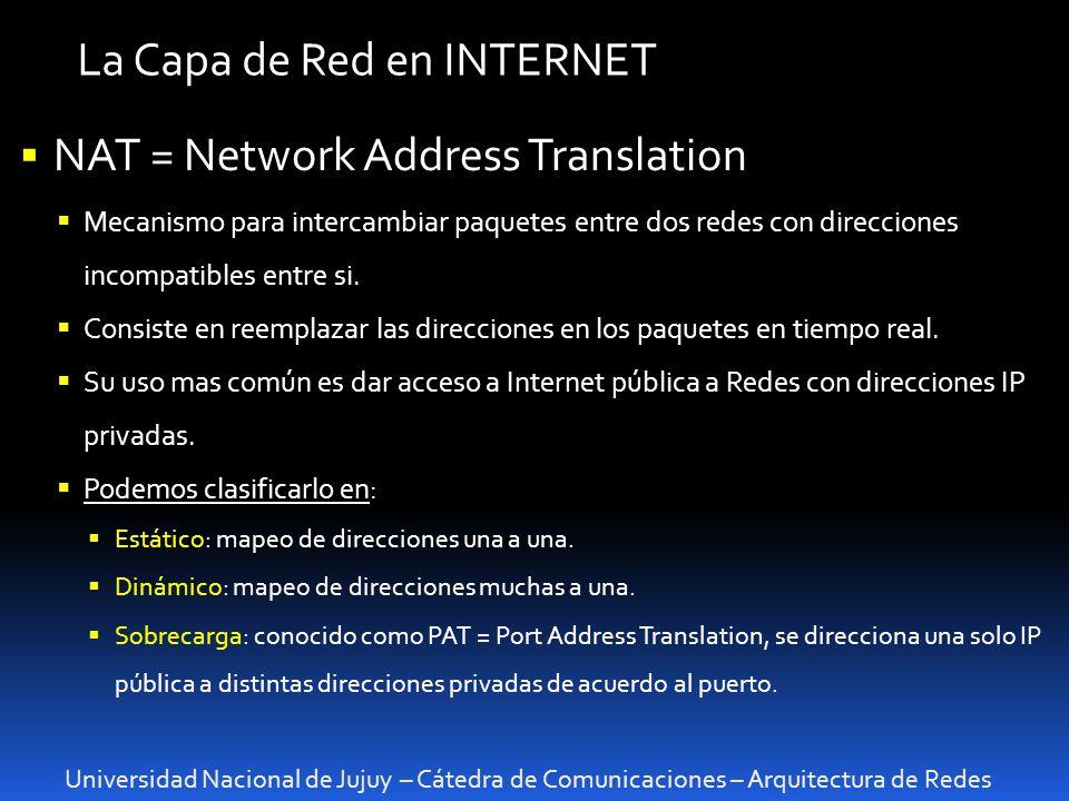 La Capa de Red en INTERNET