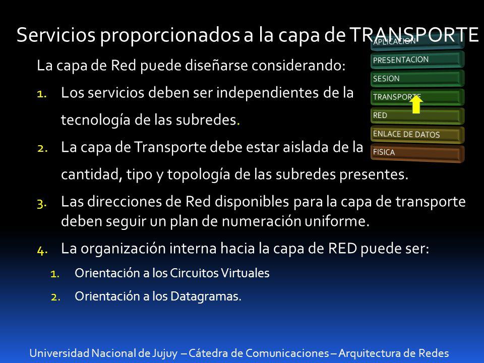 Servicios proporcionados a la capa de TRANSPORTE