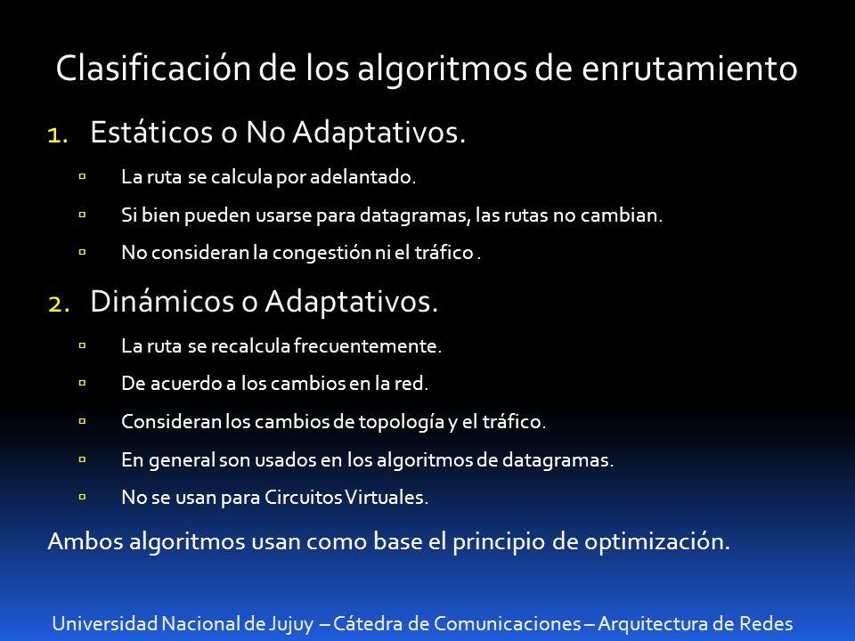 Clasificación de los algoritmos de enrutamiento