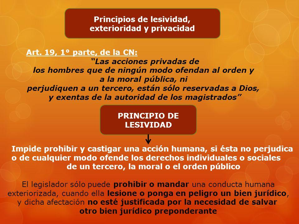 Principios de lesividad, exterioridad y privacidad