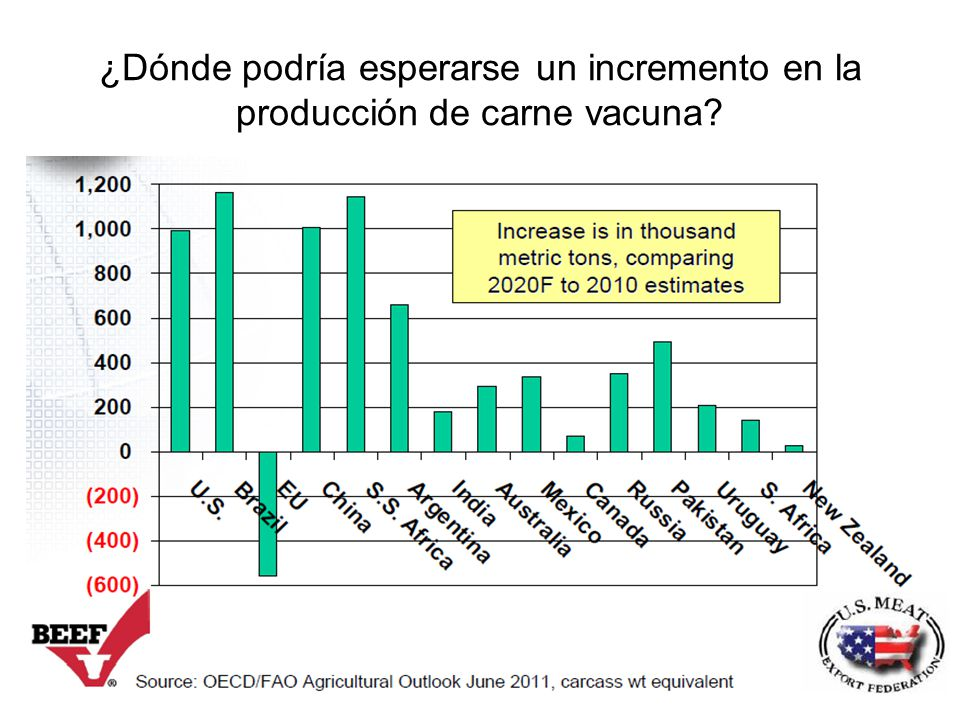 ¿Dónde podría esperarse un incremento en la producción de carne vacuna
