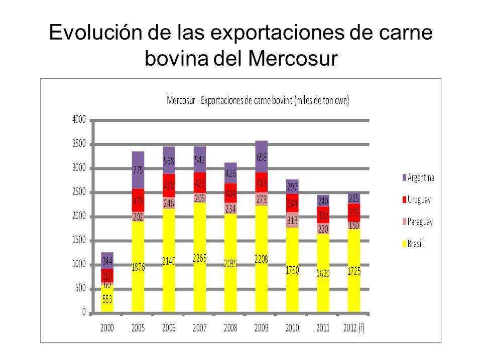 Evolución de las exportaciones de carne bovina del Mercosur