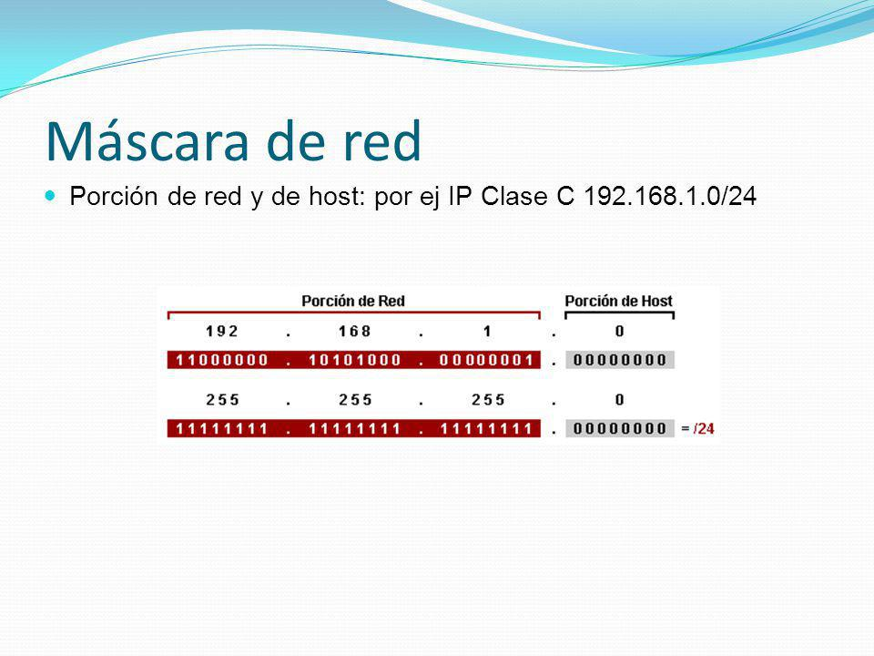 Máscara de red Porción de red y de host: por ej IP Clase C 192.168.1.0/24