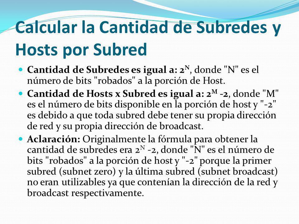 Calcular la Cantidad de Subredes y Hosts por Subred