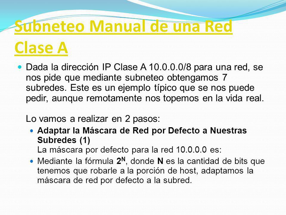 Subneteo Manual de una Red Clase A
