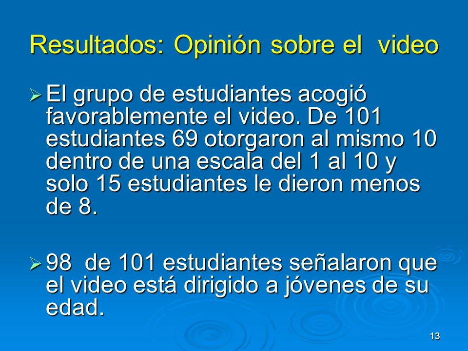 Resultados: Opinión sobre el video