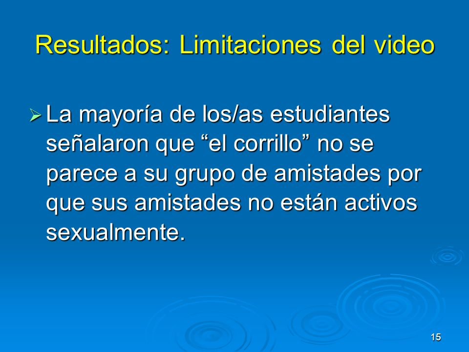 Resultados: Limitaciones del video