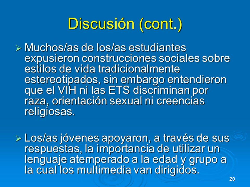 Discusión (cont.)