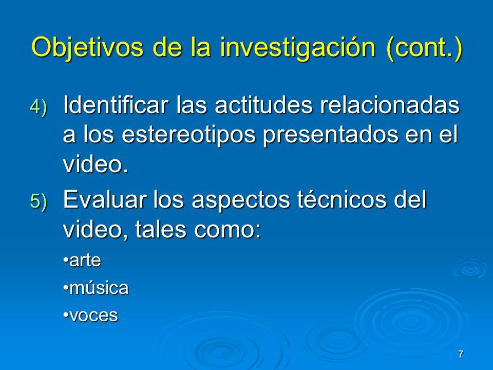 Objetivos de la investigación (cont.)
