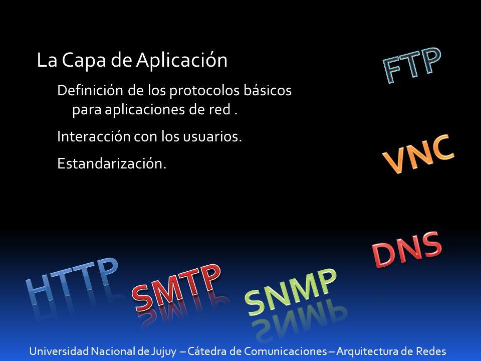 HTTP FTP VNC DNS SMTP SNMP La Capa de Aplicación