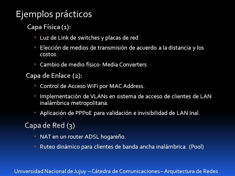 Ejemplos prácticos Capa de Red (3) Capa Física (1):