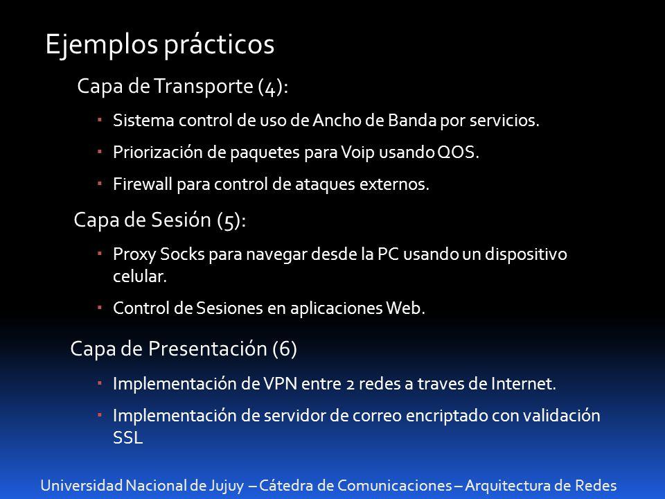 Ejemplos prácticos Capa de Presentación (6) Capa de Transporte (4):