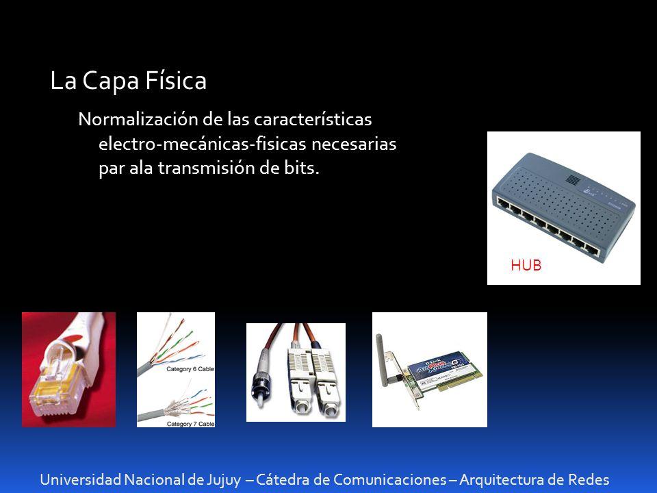 La Capa Física Normalización de las características electro-mecánicas-fisicas necesarias par ala transmisión de bits.