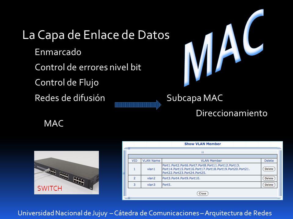 MAC La Capa de Enlace de Datos Enmarcado Control de errores nivel bit