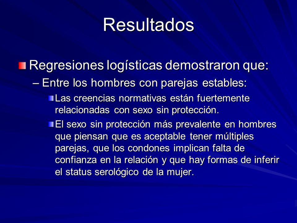 Resultados Regresiones logísticas demostraron que: