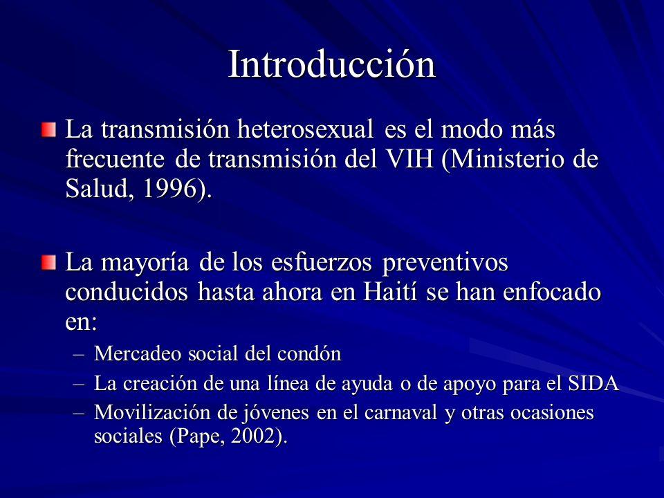 Introducción La transmisión heterosexual es el modo más frecuente de transmisión del VIH (Ministerio de Salud, 1996).
