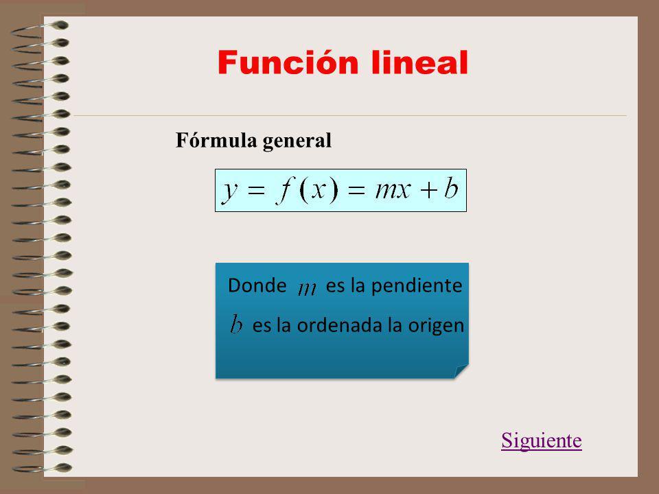 Función lineal Fórmula general Donde es la pendiente