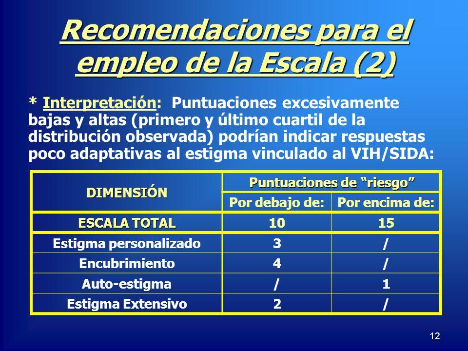 Recomendaciones para el empleo de la Escala (2)