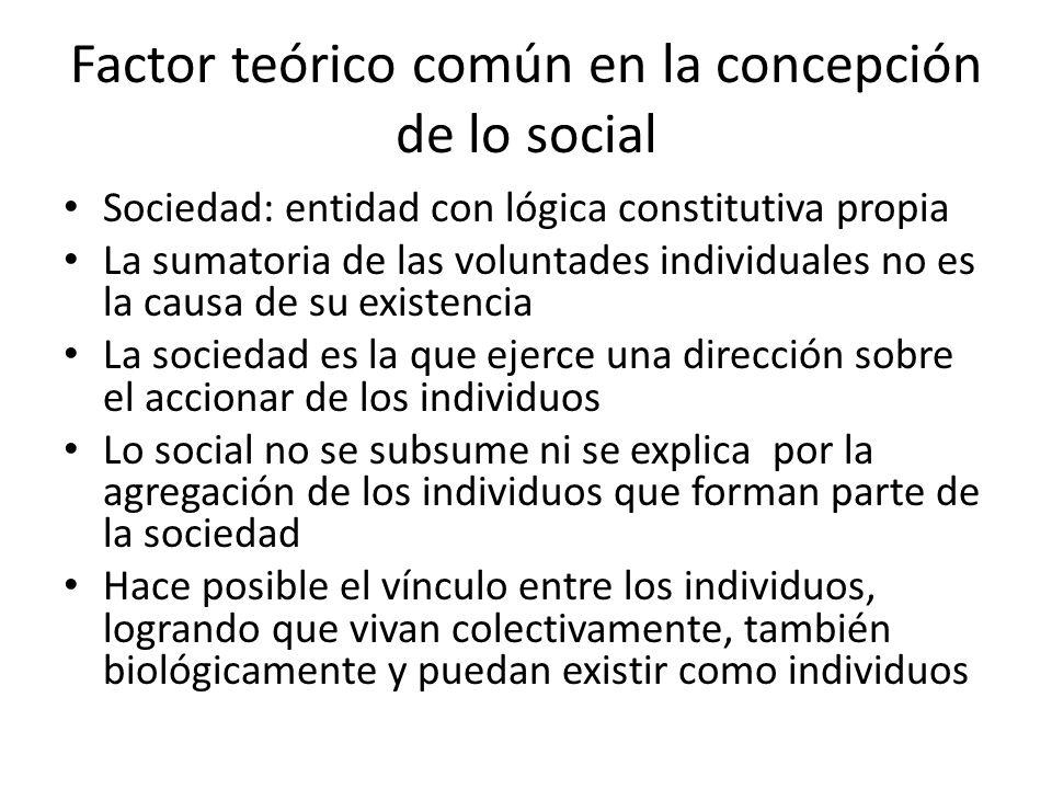 Factor teórico común en la concepción de lo social