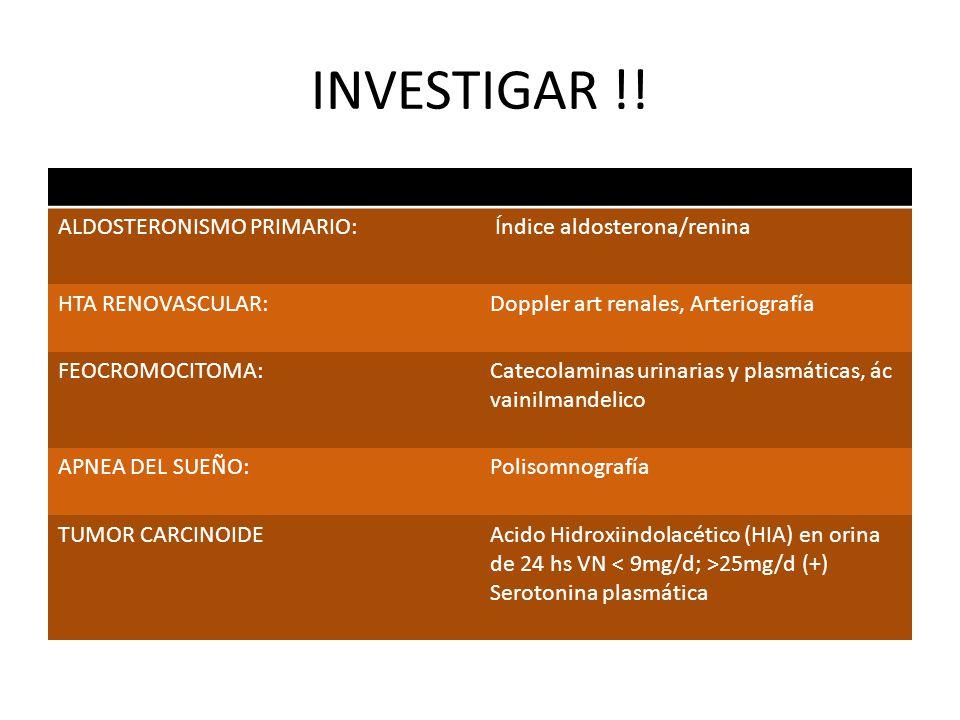 INVESTIGAR !! ALDOSTERONISMO PRIMARIO: Índice aldosterona/renina