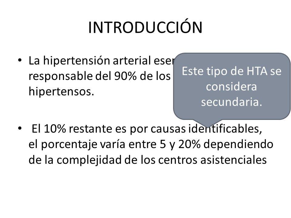 Este tipo de HTA se considera secundaria.