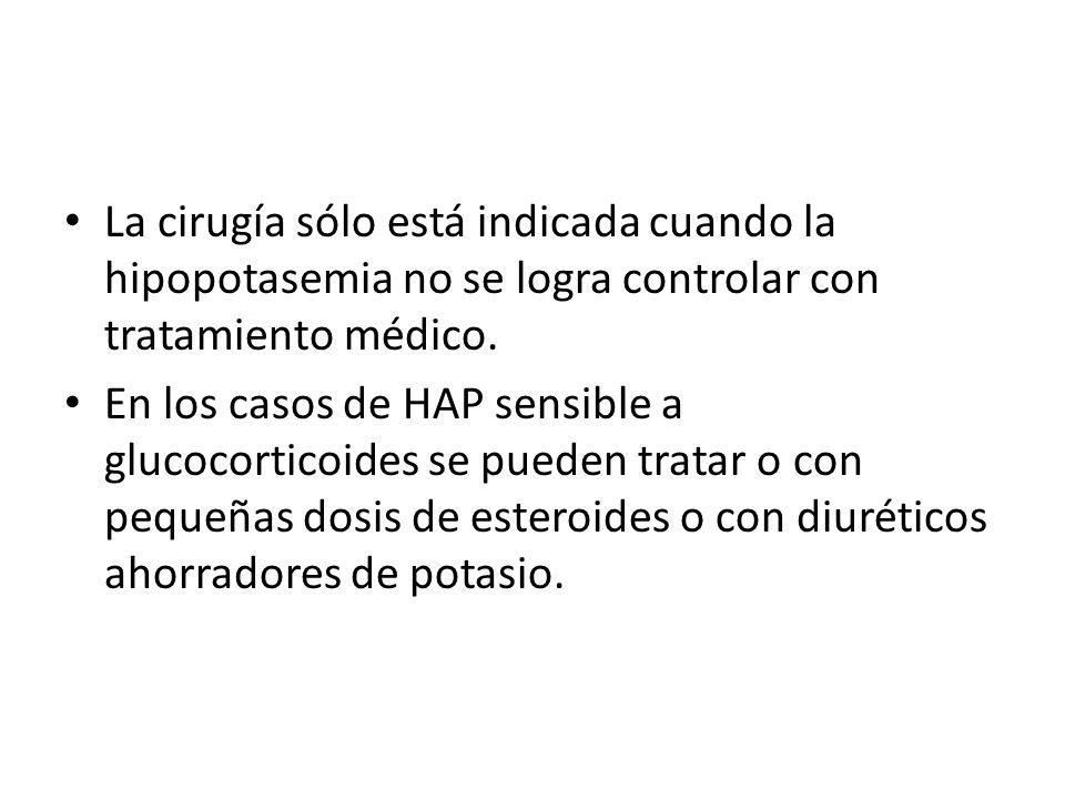 La cirugía sólo está indicada cuando la hipopotasemia no se logra controlar con tratamiento médico.