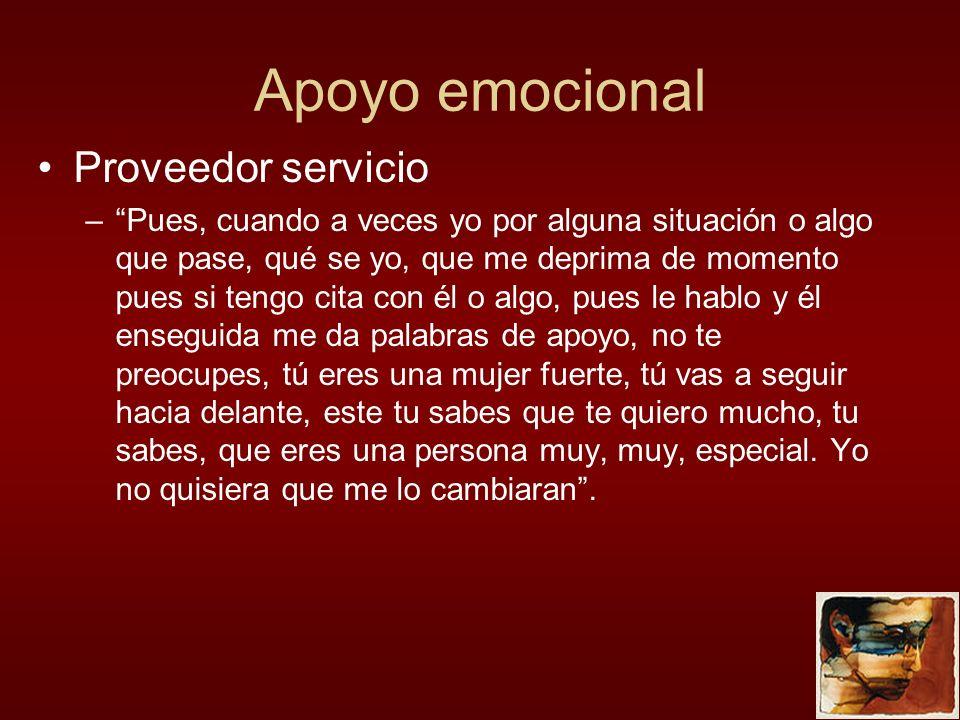 Apoyo emocional Proveedor servicio