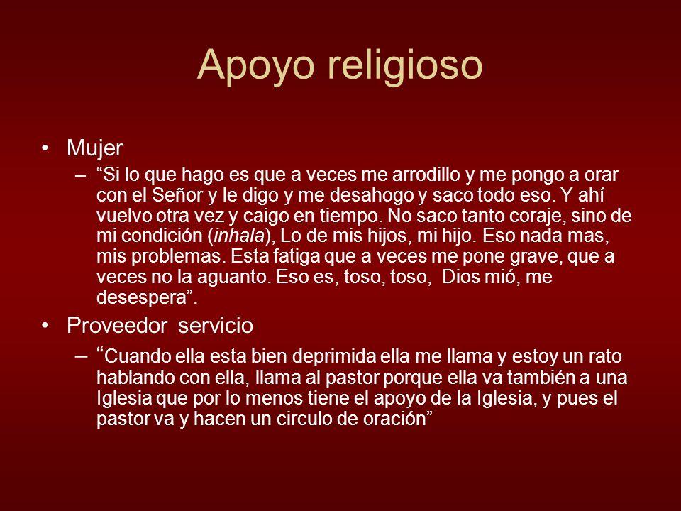 Apoyo religioso Mujer Proveedor servicio