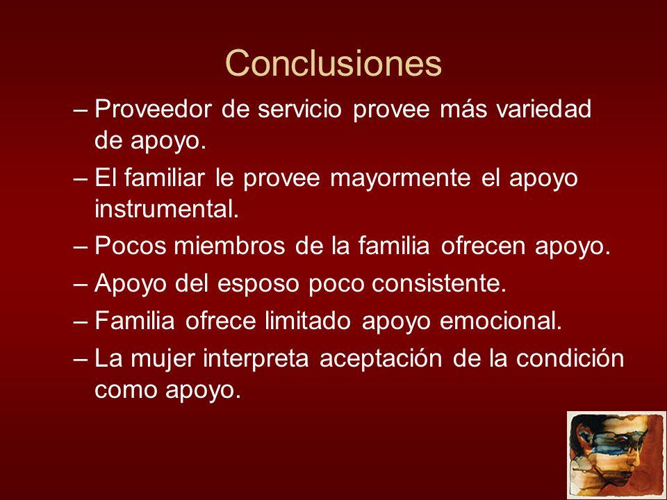 Conclusiones Proveedor de servicio provee más variedad de apoyo.