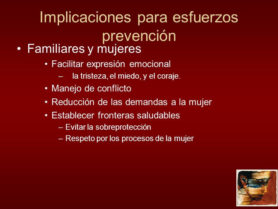Implicaciones para esfuerzos prevención
